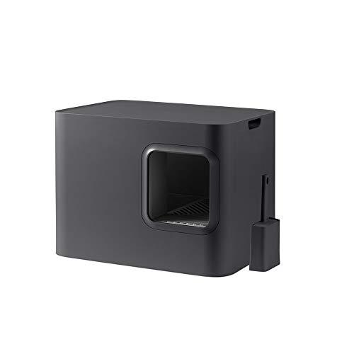 Hoopo® Dome Katzenklo, Premium Katzentoilette mit Auffangbehälter and Schaufel, 50 x 37.5 x 38 cm (Grau)