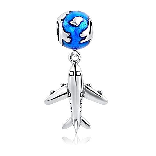 Pandora 925 plata esterlina DIY colgante joyería viaje mini avión tierra encantos granos ajuste pulsera colgante cms