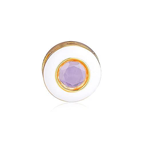 LIIHVYI Pandora Charms para Mujeres Cuentas Plata De Ley 925 Clip Circular Blanco Reluciente Compatible con Pulseras Europeos Collars