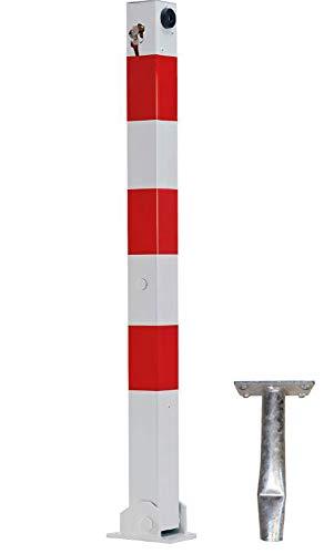 ABSPERRPFOSTEN 70x70mm Vierkantrohr, Umlegbar mit Profilzylinderschloß, zum Einbetonieren, ohne Ösen, Poller, Parkplatzsperre