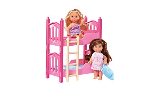 Simba 108178046 105733847 - Evi Love 2 Floor Bed / mit zwei Evi Puppen / mit Stockbett / inklusive Zubehör / Ankleidepuppe / 12cm, für Kinder ab 3 Jahren