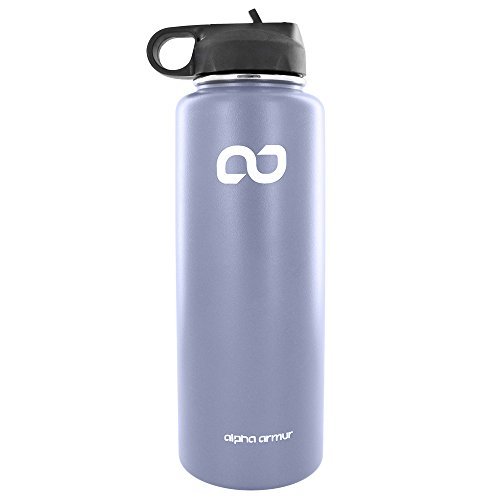 Alpha Armur 40 Oz (1.1L)Water Bottle Stainless Steel drinking flask Double Wall Vacuum Insulated stainless steel food flask Wide Mouth Bottle with Sports Lid flask stainless steel for beach,  Gray
