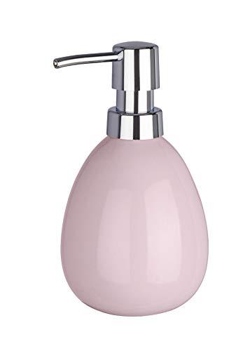 WENKO Seifenspender Polaris, nachfüllbarer Seifendosierer für Flüssigseife und Lotion aus hochwertiger Keramik, 10 x 16,5 x 9,4 cm, Füllmenge 390 ml, Pastell-Rosa