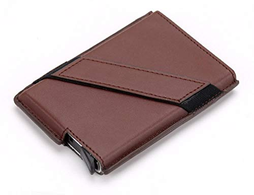 Awsl Cartera para Hombre, RFID antimagnético, Tarjetero desplegable, Caja de Tarjeta de crédito, Cartera Multifuncional marrón