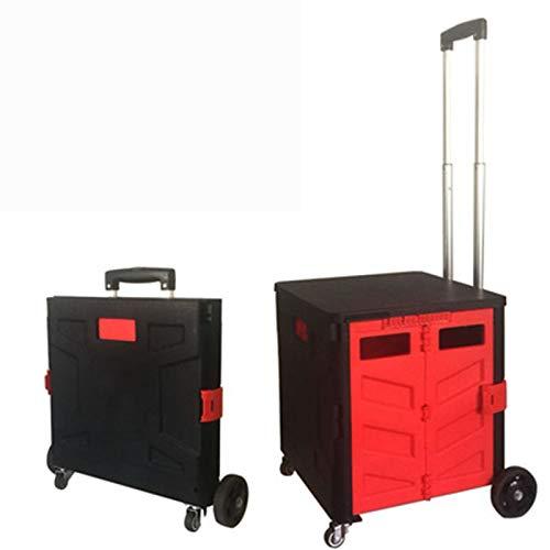 XYLUCKY Quik Cart Vier-Wheeled Collapsible Handcart mit Black Lid & Brakes, Rolling Utility Cart mit Sitz schweres Gewicht