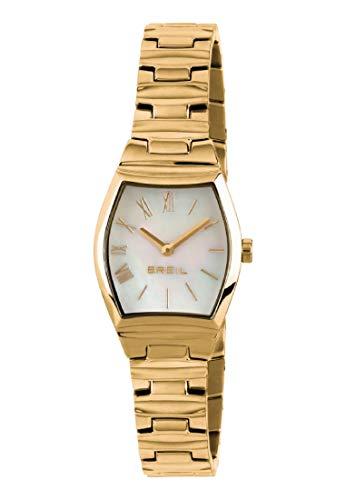 Armbanduhr BREIL Frau Barrel quadrante Weiss e uhrarmband in Stahl goldenen, Werk TIME JUST - 2H QUARZUHR