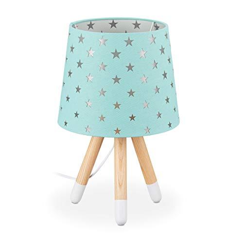 Relaxdays Mesa niñas, Casquillo E14, lámpara Infantil con Estrellas, 39 x 25 cm, Color, verde menta