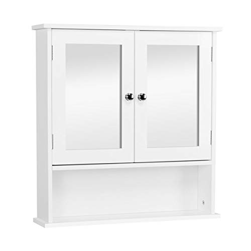 YAHEETECH Bathroom Medicine Cabinet Wall Mount Mirror Cabinet with Double Doors...