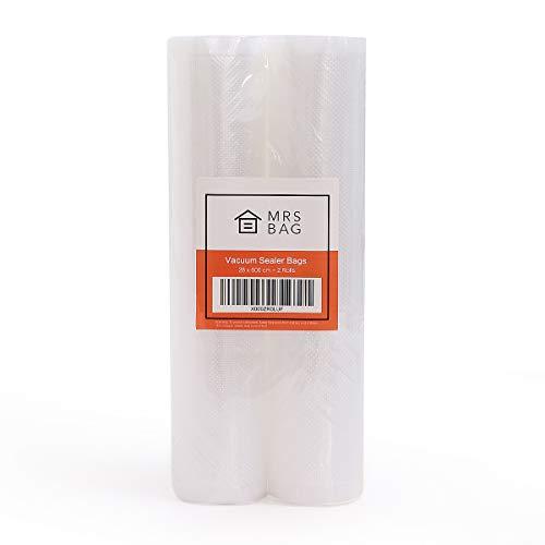 MRSBAG Vakuumrollen 2 Rollen (28 x 600cm) Profi Folienrollen für Lebensmittel, Folienbeutel für Mikrowelle Kühlschrank Gefrierschrank und Spülmaschine