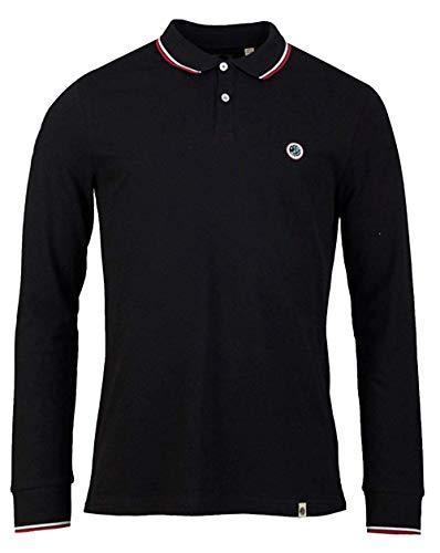 Pretty Green Long Sleeve Pique Polo Shirt Large Black