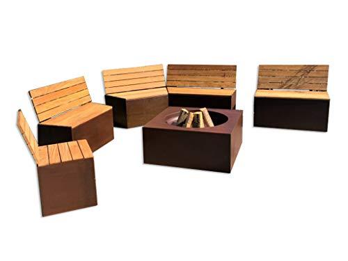 Meine Feuertonne Komplette Lounge Sitzecke mit Sitzbänken, Grilltisch