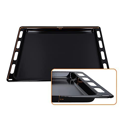 DL-pro Bandeja de horno esmaltada, 440 x 370 x 21 mm, resistente a pirólisis para Bosch Siemens 666902 00666902 HEZ431000 Constructa CZ10200, bandeja de horno para horno y cocina