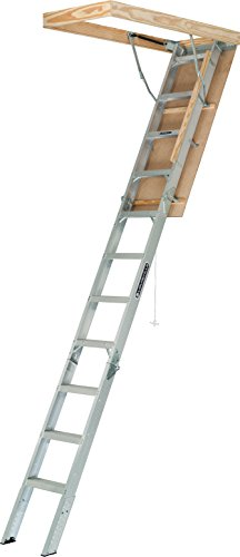 Louisville Ladder AA2210 Elite Aluminum Attic Ladder, 375 Pound Load Capacity, 22-1/2 x 54
