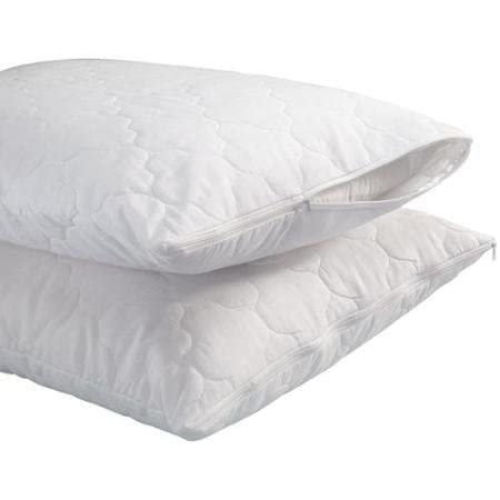 Trance Home Linen Cotton Quilted Pillow Protector Dust Free Water Resistant Cover (White)- Pack of 2 Pieces