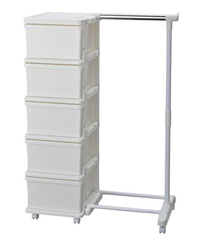 収納ボックス ふた付き ハンガーラック 付き 日本製 『 シーズ 5段 ハンガー付 』 W83.5×D42×H111.2cm ホワイト/ホワイト キャスター付き 収納 ケース JEJ #9833992