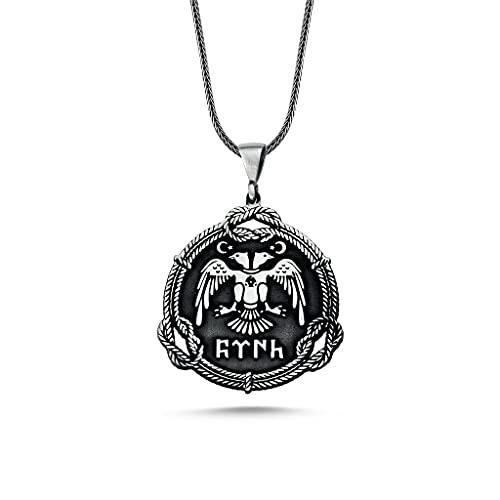 TAKILINGO Collar de cadena para hombre de plata de ley con doble águila y colgante turco Göktürk en bolsa de joyería para regalo İdea