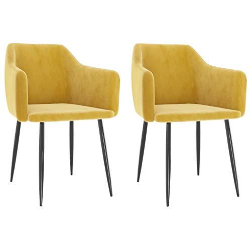 vidaXL 2X Esszimmerstuhl Stuhl Stühle Küchenstuhl Esszimmerstühle Polsterstuhl Essstuhl Wohnzimmerstuhl Sessel Stuhlgruppe Senfgelb Samt