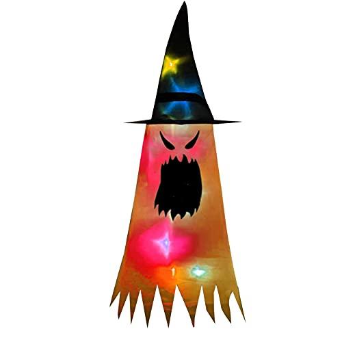 DASNTERED Cappello da strega con luce a LED, per Halloween, decorazione per feste all'aperto, giardino, albero, cappello da strega, illuminazione (arancione)