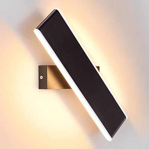 ENCOFT Applique Murale Intérieur 2 LED 12W Moderne Up Down Rotative à 330 Degrés en Aluminium Éclairage Mural Rotatif pour Chambre Salon Bureau Escalier Blanc Chaud 3000K, Couleur Café 31cm