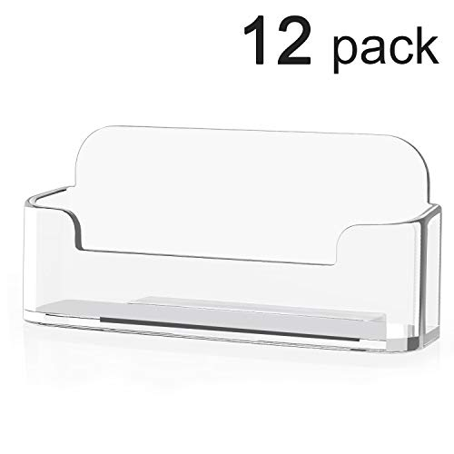 MaxGear Acrylic Business Card Holder Stand for Desk Clear Business Card Stand Office Business Card Display, Single Compartment, 3 4/5 x 1 4/5 x 1 2/5 inch, 12 Pack