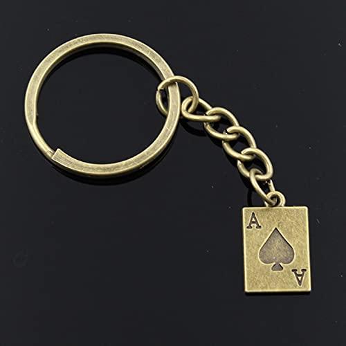 LEILIANG Llavero De 30Mm para Hombre DIY Metal Solitario Poker 20X12Mm Colgante De Plata De Regalo