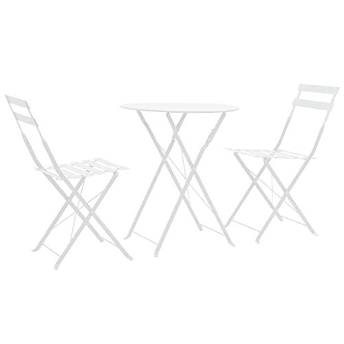 Tidyard 3-TLG. Bistro-Set Stahl Weiß Bistro Set 3 Pieces White Steel Dining Set Including 1 Folding Table and 2 Folding Chairs Garden Furniture Balcony Furniture Patio Furniture