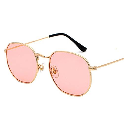 Gafas De Sol Gafas De Sol Hexagonales para Mujer, Gafas De Sol Cuadradas Pequeñas para Hombre, Montura Metálica para Conducir, Gafas De Pesca, Goldclearpink