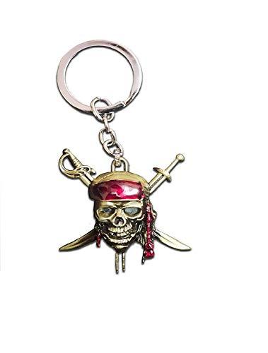 NK GLOBAL Fluch der Karibik Schädel Schlüsselring Charme Schlüsselanhänger Anhänger für Handtaschen, Geldbörse dekorative Schlüsselringe