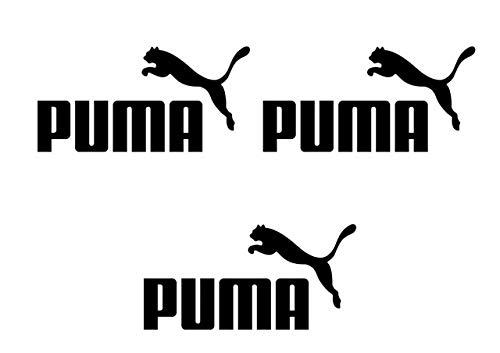 Puma Logo Iron On Camiseta de vinilo para transferencia de calor etiquetas negras, etiquetas blancas, logotipo de Puma para planchar para ropa, parche con logotipo de Puma, juego de 3 (negro)