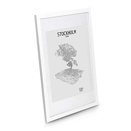 Classic by Casa Chic - Echtholz Bilderrahmen 50x70 cm - Weiß - mit Passepartout 40x50 cm - Plexiglas - Rahmenbreite 2cm