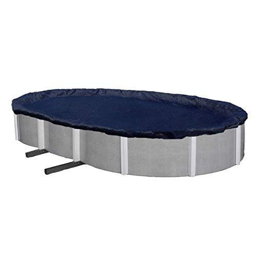 Aboveground Pool Winter Cover, Fits 15' x 30' Oval, Solid Blue – Includes Winch and Cable for Easy Installation, Superior Strength & Durability, Treated for UV Protection - Winter Block WC1530OV
