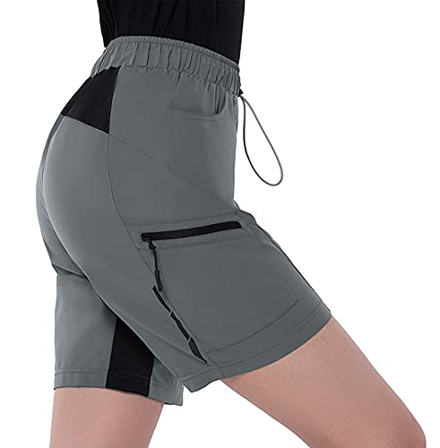 Cycorld MTB Hose Damen Radhose,Schnelltrocknend Fahrradhose Damen Mountainbike Hose,Atmungsaktiv Radlerhose Damen Elastische Outdoor Bike Shorts (L, Grau)