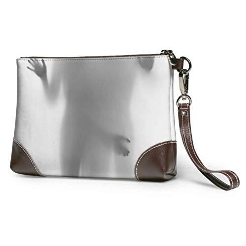 XCNGG Weiche wasserdichte Leder Clutch Wristlet Diffuse Frau Silhouette Hände Damen Leder Brieftasche Clutch mit Reißverschluss für Frauen Mädchen