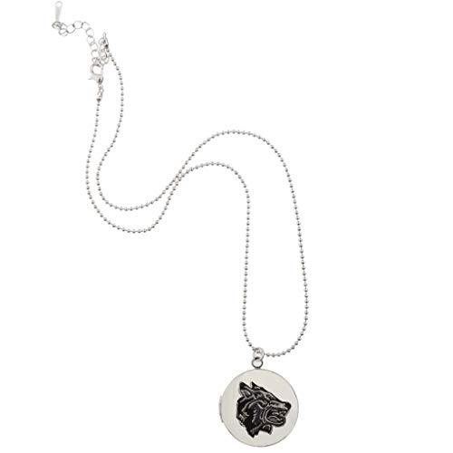 Baoblazen Forma Redonda con El de Cabeza de Loba Colgante Medallón Collar Joyería Conmemorativa - Plata, 3.2cm