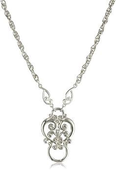 1928 Jewelry Silver-Tone Heart Eyeglass Holder Pendant Necklace 28