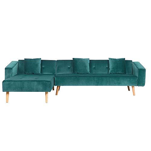 Canapé d'angle Velours Moderne Confort Vert