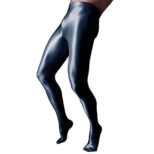 CHICTRY Herren Ice Silk Leggings Durchsichtig Strumpfhosen mit Pennishülle Elastische Pants Lange Tight Hose Unterhose Pantyhose Nachtwäsche in 4 Farbe Schwarz M
