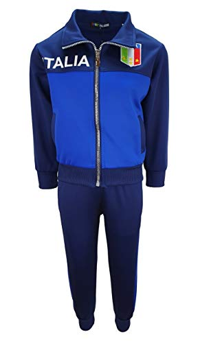 Sports Jungen Trainingsanzug Italia, in Blau/d.Blau, Gr. 110/116, JF603.6