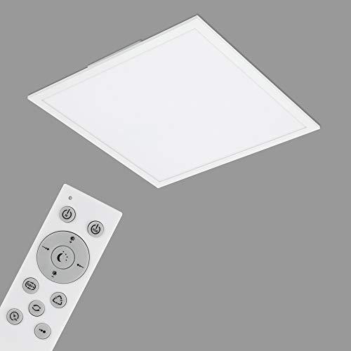 Briloner Leuchten - LED Panel, WiFi Deckenleuchte dimmbar, RGB, App-Steuerung, inkl. Fernbedienung, Timerfunktion, Memoryfunktion, 24 Watt, 2.400 Lumen, Weiß, 450x450x65mm, 7087-016