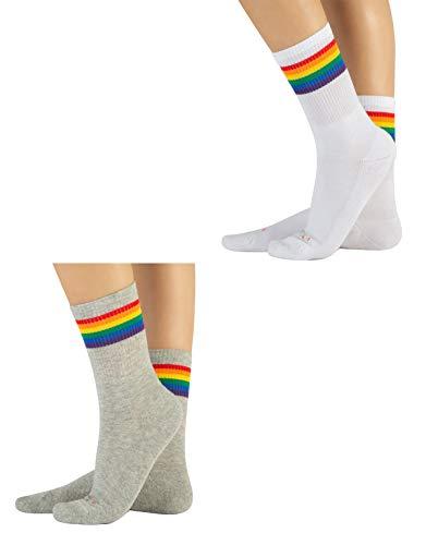 CALZITALY 2 Paar Unisex Socken mit Regenbogen Muster| Baumwolle Strümpfe für Damen und Herren | Grau, Weiss | 35/38-39/42-43/46 | Made in Italy (35/38, Grau+Weiß)