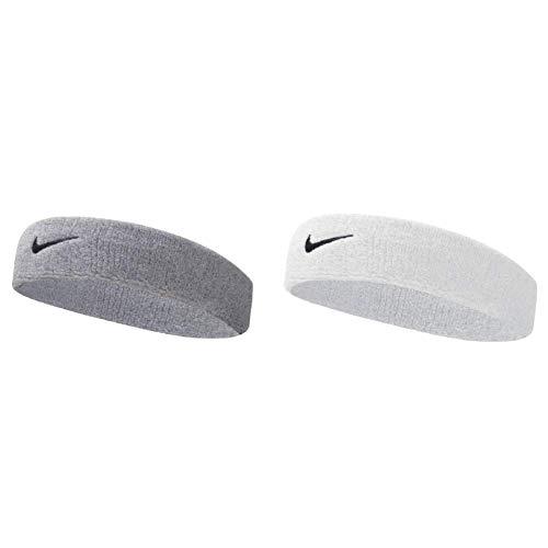 Nike UnisexErwachsene Swoosh Headband/Stirnband, Grau (Grey Heather/Black), Einheitsgröße & UnisexErwachsene Swoosh Headband/Stirnband, Weiß (White/Black), Einheitsgröße