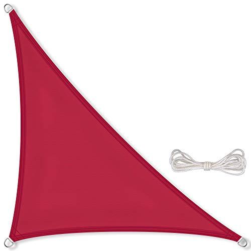 CelinaSun Sonnensegel inkl Befestigungsseile PES Polyester wasserabweisend imprägniert Dreieck rechtwinklig 4,2 x 4,2 x 6 m rot