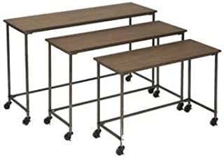 Wood and Iron Nesting Tables Set of 3