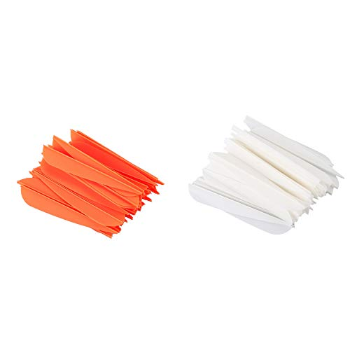 ACAMPTAR Arrows Vanes 4 Inch Plastic Feather Fletching for DIY Archery Arrows 100Pack(Orange&White)