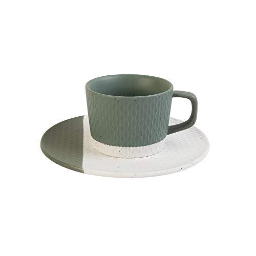 HARVESTFLY Juego de tazas de café y platillos de capuchino – 200 ml, verde – taza de café de porcelana blanca con asa, para café café café café café café café café café