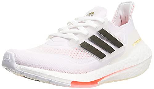 adidas Ultraboost 21 W, Chaussures de Running Femme, Blanc/Noir/Rouge (Ftwbla Negbás Rojsol), 43 1/3 EU