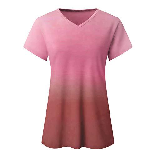 Julhold Blusa de mujer de moda casual gradiente con cuello en V manga corta suelta camiseta Tops para verano