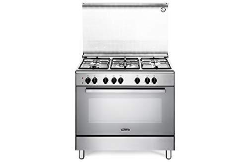 DE LONGHI Cucina Elettrica DEMX96ED 5 Fuochi a Gas Forno Elettrico Multifunzione Ventilato Classe A Dimensioni 90 x 60 cm Colore Inox