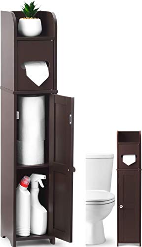 Hula Home Sturdy Tall Bathroom Toilet Roll Cabinet - Espresso | Removable Shelves for More Storage | Moisture Resistant Tall Corner Wall Organizer | Free Standing Shower Space Saver Unit Cupboards
