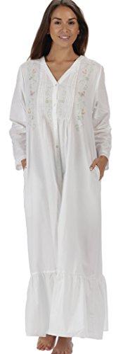 The 1 for U 100% Baumwolle Damen Viktorianisch Stil Nachthemd 7 Größen - Kate - Weiß, Weiß, L